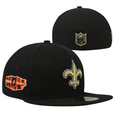New Era New Orleans Saints Super Bowl XLIV Side Patcher 59FIFTY Fitted Hat - Black
