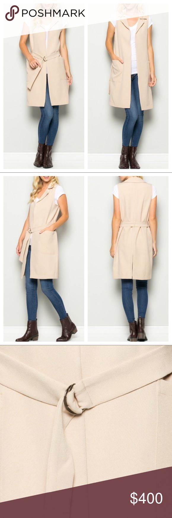 🎯JUST IN ♨️ LIGHT TAN LONG VEST, SUPER COOL! Perfect bridge from summer to fall (and year-round, in some climates!): Light tan long vest made of 95% rayon and 5% Spandex for some excellent stretch and movement. Pockets! This beautifully neutral vest gets an upscale lift with lapels and a belt to offer you the perfect finishing touch for most any outfit - work or play.  A slit up the bottom back adds movement and flow. Chambray top for styling only October Love Jackets & Coats Vests