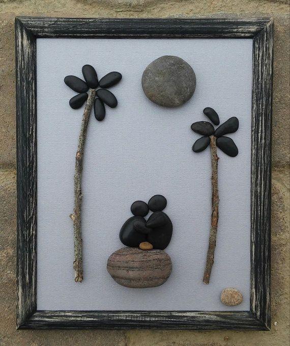"""Arte de piedra / par de arte rupestre, regalo, regalo de boda, regalo de amor, palmeras, regalo de vacaciones, playa de piedras de la luna de miel, """"open"""" del marco (envío gratis)"""