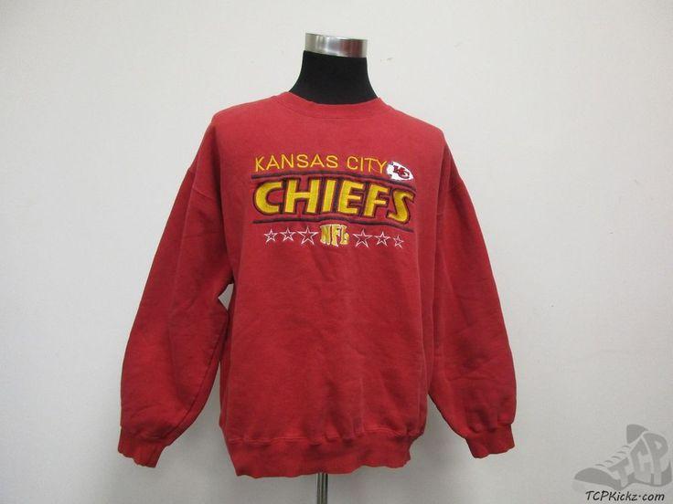 Vtg 90s Majestic Kansas City Chiefs Crewneck Sweatshirt sz XL SEWN Football NFL #Majestic #KansasCityChiefs #tcpkickz