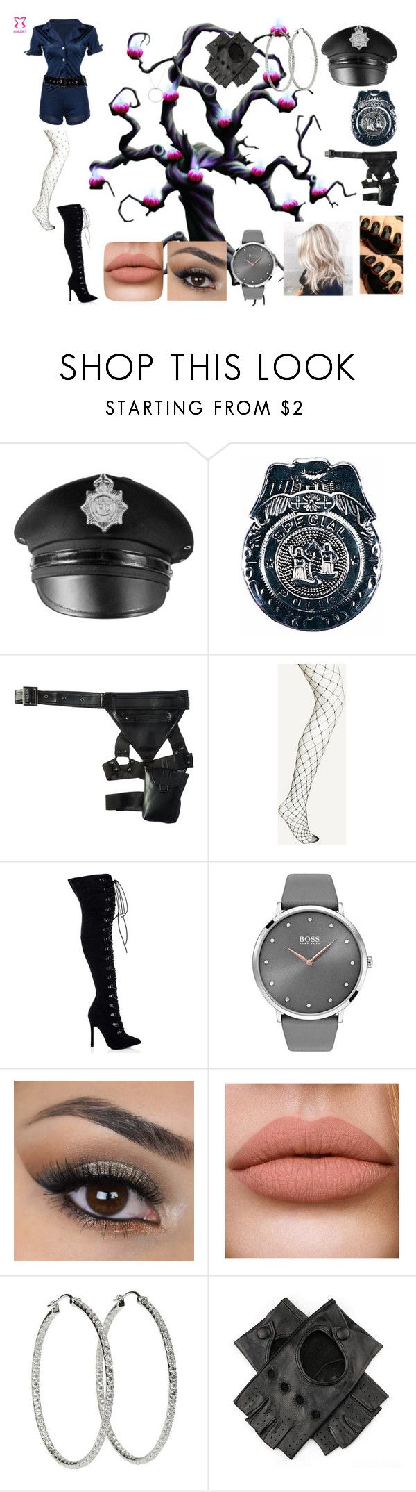 """Police Costume"" by rheachubey ❤ liked on Polyvore featuring Leg Avenue, BOSS Black, Black and Roberto Coin"