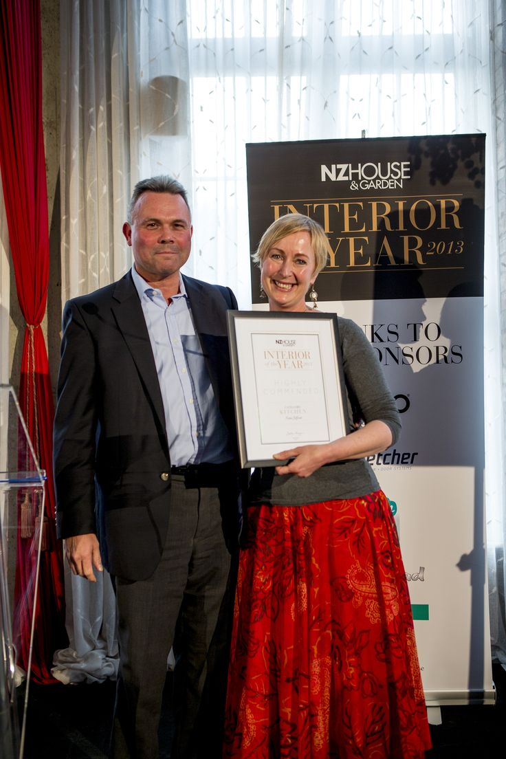 Richard Pollington with Highly Commended Kitchen recipient Fiona Jeffcoat Photo courtesy of NZ House & Garden — at James, Parnell.