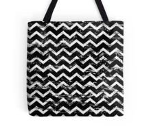 black and white distressed chevron pattern  tote