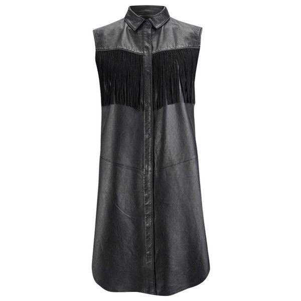 Ganni Women's Leather Fringed Shirt Dress - Black ($485) ❤ liked on Polyvore featuring dresses, black, collar dress, collared shirt dress, long shirt dress, sleeveless dress und black dress