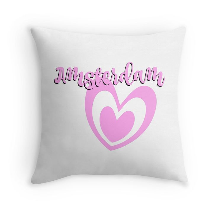 Amsterdam pillow pink. Nice pads designed by Brigitte B. Would you buy this pillow? Look here: https://www.redbubble.com/people/bbrigitte/works/23534536-amsterdam-with-pink-heart?p=throw-pillow&ref=artist_shop_grid
