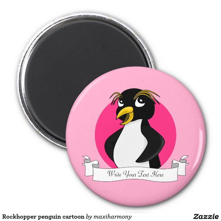 Rockhopper penguin cartoon 2 inch round magnet