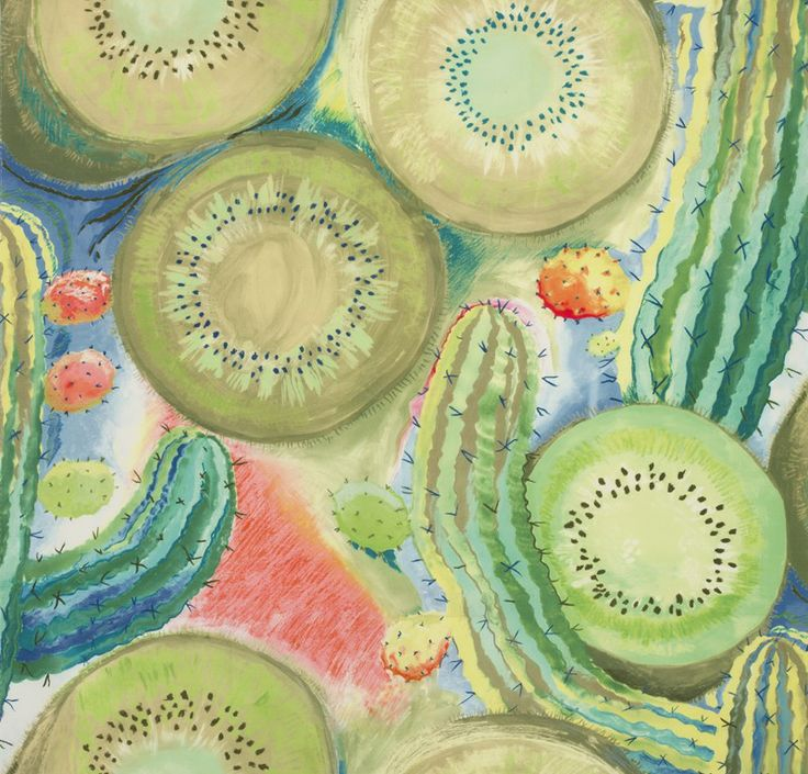 """""""California"""" A spectacular exotic scene composed of kiwi fruit and cactus plants, designed by Hilton McConnico. One colorway."""