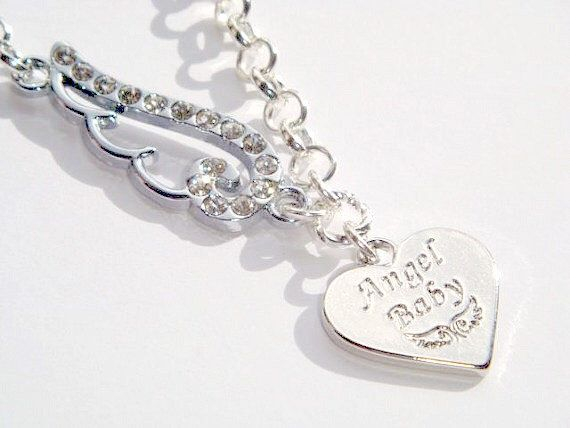 ANGEL BABY Heart Necklace - Baby Loss Jewelry - Memorial Jewelry - Angel Wing Necklace - Mommy of an Angel Necklace - Remembrance Necklace by BellaAniela on Etsy https://www.etsy.com/listing/205886806/angel-baby-heart-necklace-baby-loss
