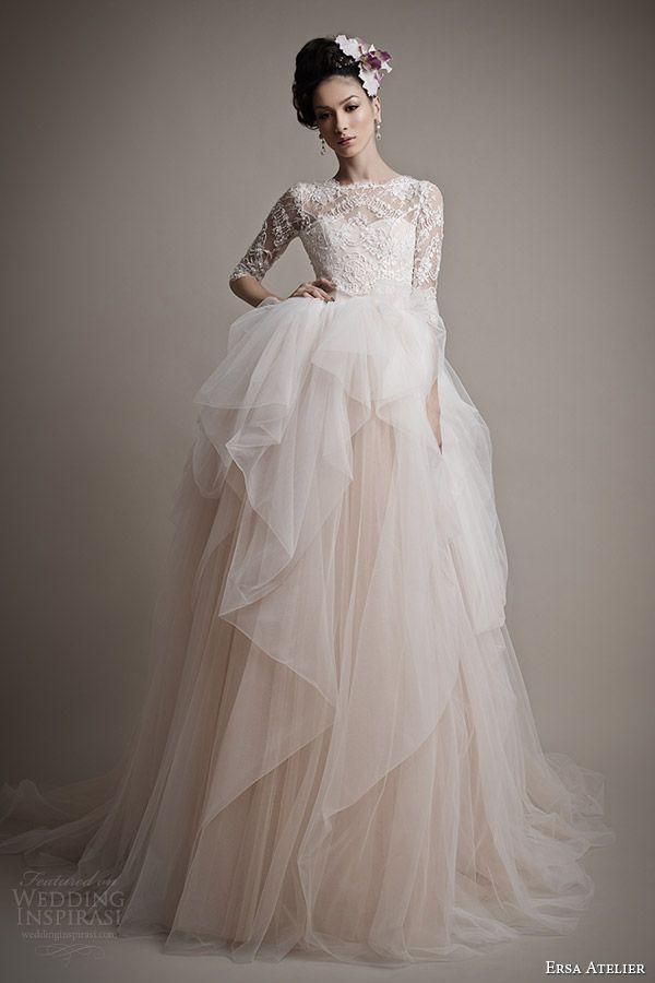 ersa atelier 2015 bridal amina pale pink wedding dress sleeves