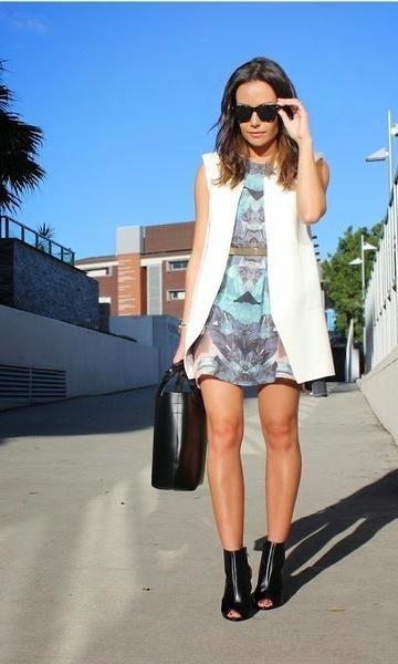 Look: Vestido Estampado + Colete. Modait, Moda it, fashion, style, moda,