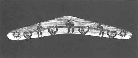 ALBERT NAMATJIRA BOOMERANG, 1936 incised and burnished mulga wood