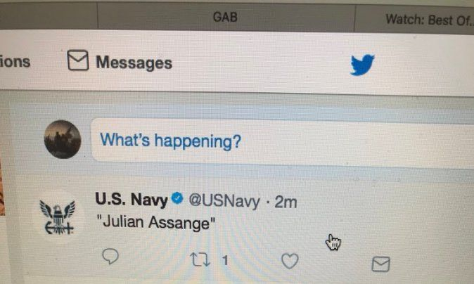"""Extremely Strange Events On Another Front - U.S. Navy Cryptically Tweets """"Julian Assange"""" After His Twitter Account Mysteriously Disappears And Reappears"""