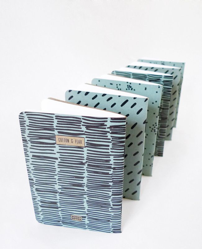 Cool notebooks to brighten up your office. Grab a set to share with co-workers! Pale Blue Patterned Notebooks — Cotton & Flax