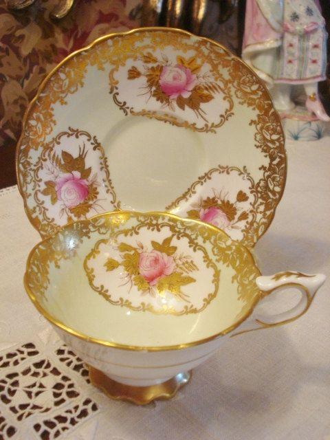 Vintage English Royal Stafford Cup Saucer Ornate by GraceandPlenty, $78.00