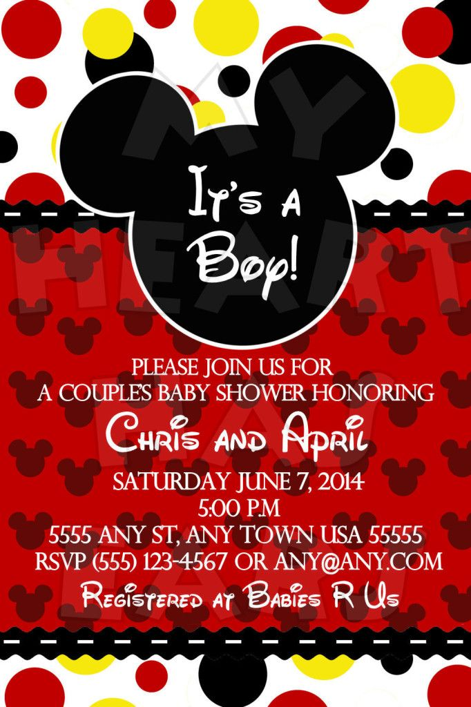 Mickey Mouse Itu0027s A Boy Baby Shower CUSTOM Printable Digital Invitation ::  My Heart Has