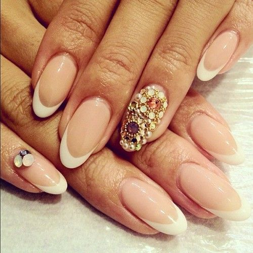Jewels on French tips. Beautiful almond shaped nails ...