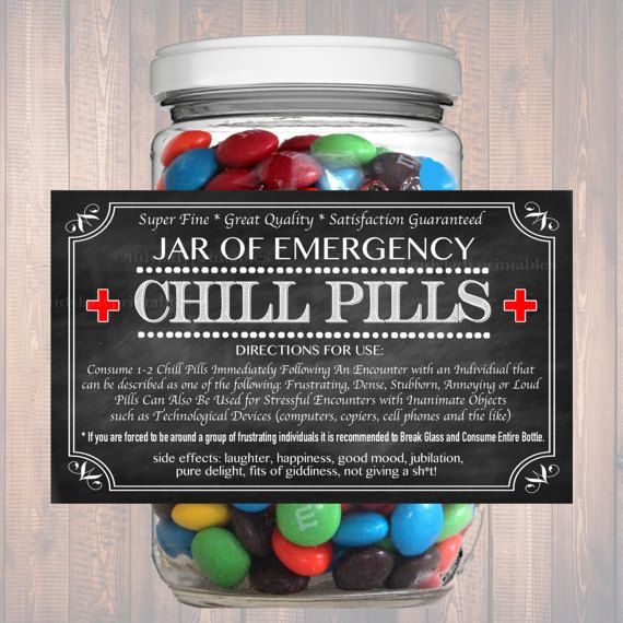 Chill Pills Label, Chalkboard Label Gag Gift Professional Office Gift, Christmas Gift, Birthday Gift, Boss Gift, Cowork Gift Printable Label – Marketing