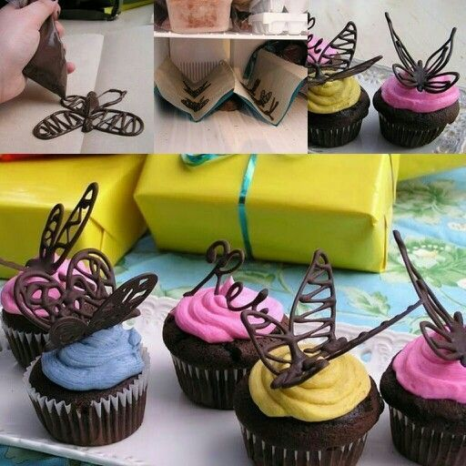 Chocolate butterfly cake decoration