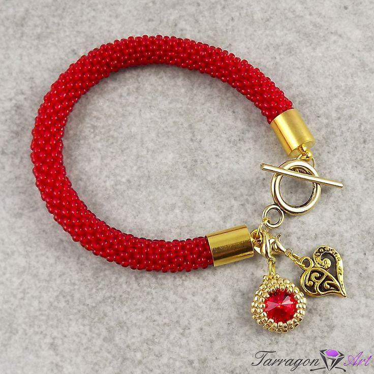 """Bransoletka """"Seed Beads & Charms - Ruby"""" by Tarragon Art. Przepiękny odcień rubinowej czerwieni! Z zawieszką charms, czy też bez..  - wybór należy do Ciebie! :)"""
