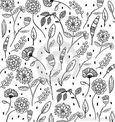 Monochrome black and white drawing of flowers on a white background