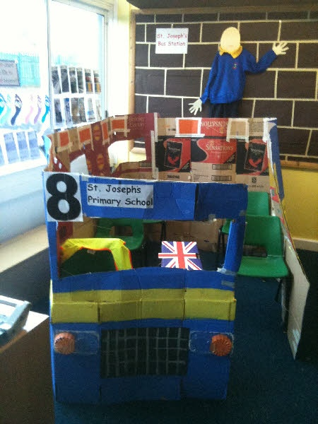 Bus station role-play area from Katie My kiddies would love this they are always playing bus