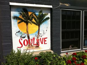 Soulyve Caribbean Kitchen in Orangeville, Ontario, Canada. Featured on 'You Gotta Eat Here'. Had the Reggae Wrap with jerk chicken. Yum!