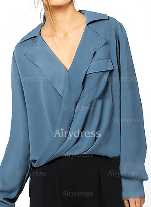 Solid Casual Chiffon Collar Long Sleeve Blouses (1039152) @