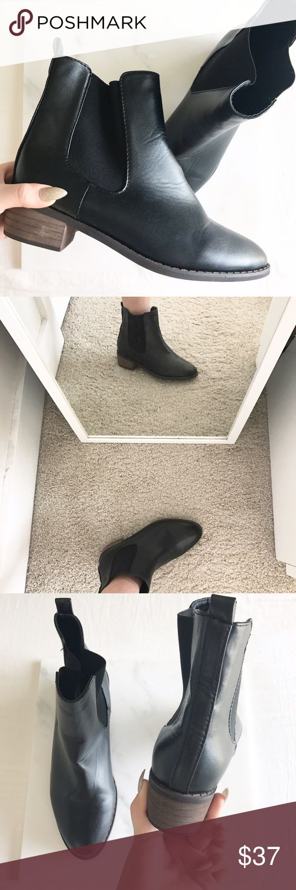 black leather chelsea boots heel is 1 inch | new never worn | slight creasing due to storage | NOT UO, TAGGED FOR VISIBILITY Urban Outfitters Shoes Ankle Boots & Booties
