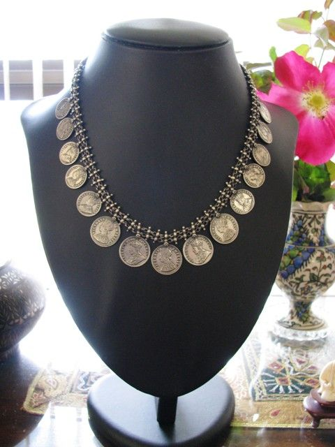 Vintage Indian Silver Necklace, Simulated Rupee Coins