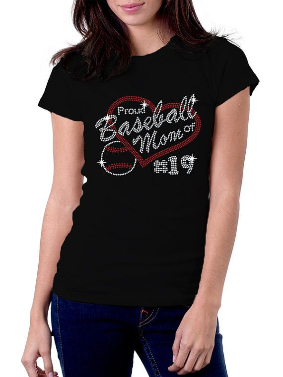 Prouse Baseball Mom of Number  Rhinestone Shirt by RascoPrints, $19.99
