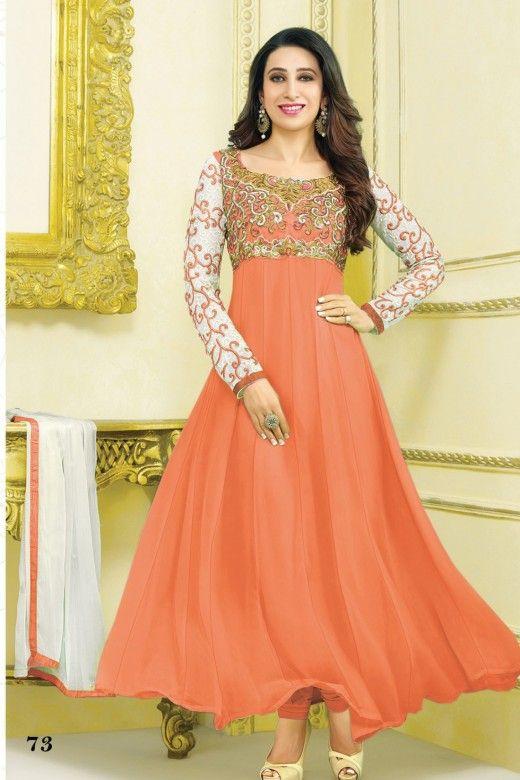 Karishma Kapoor -Orange Faux Georgette Anakali Suit - Bollywood Anarkali Suits