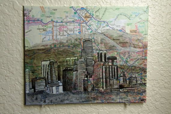 Los Angeles Painting on Map by MikeAndKatieMakeArt on Etsy