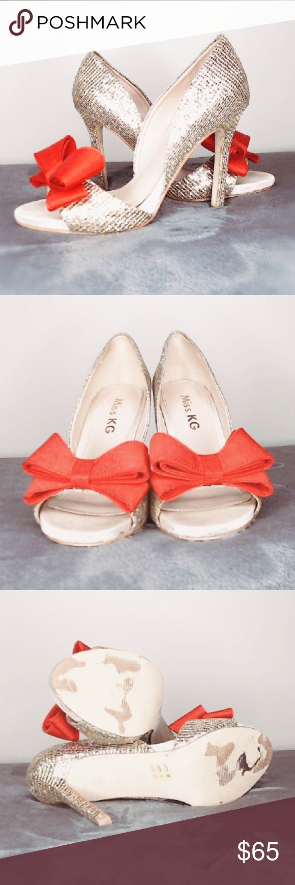Miss KG 'Gabrielle' red&gold bow sandals 💃👠Miss KG is Kurt Geiger's other brand. These sandals are super cute! The red is a true warm red. The gold shoe is glittery but not tacky. Gently worn for one wedding. I don't have the box anymore, I hope that's ok. Kurt Geiger Shoes Heels