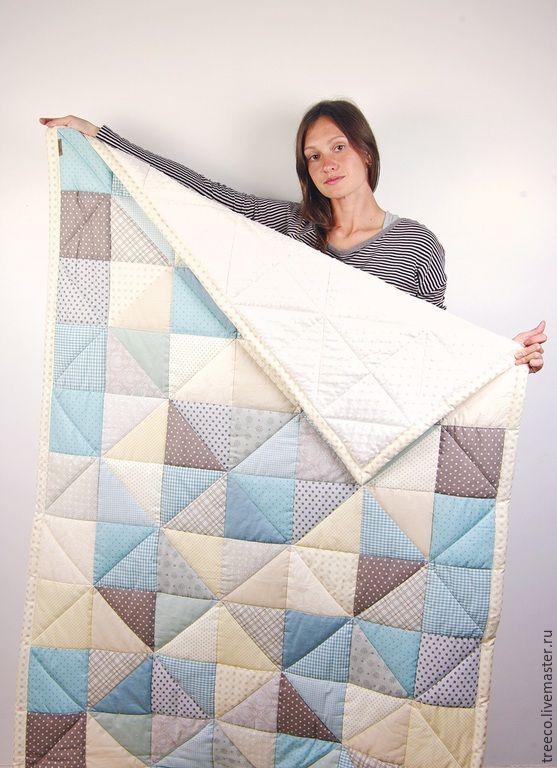 Купить Одеяло для мальчика и лоскутный мишка - голубой, лоскутное одеяло, лоскутное покрывало, одеяло для мальчика