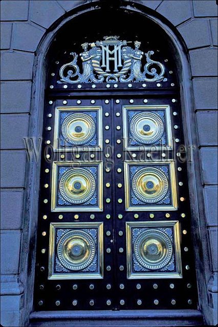 Chile, santiago, downtown, government building, detail of brass door