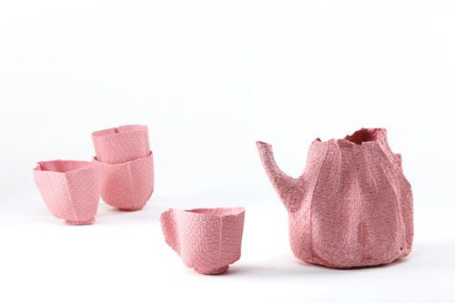 alice tableware by rachel boxnboim (fabric molds with porcelain, fabric burns away in firing.)