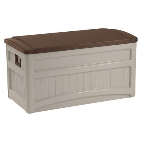 Suncast Deck Box with Wheels Taupe/Brown - 73 Gallon
