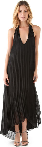 Sheri Bodell Pleated Maxi Dress in Black - Lyst