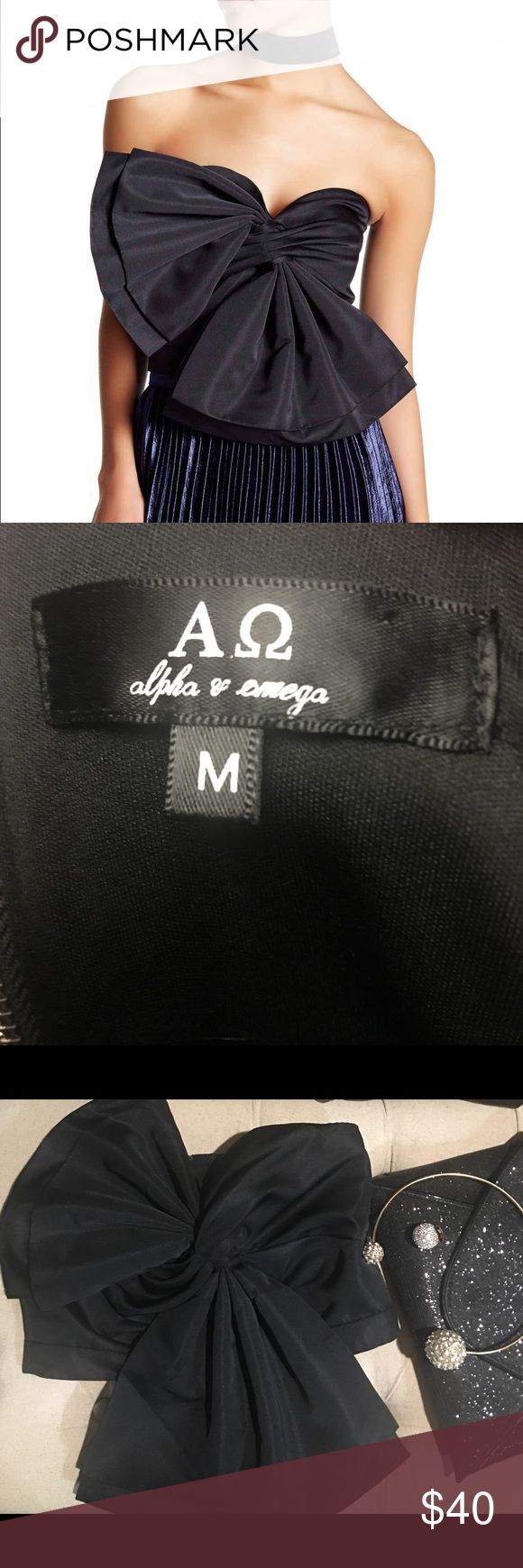 Alpha & Omega Bow Bandeau Elegant top to wear up or down...satin look, black, size Medium.  The price is firm. Alpha & Omega Tops Crop Tops