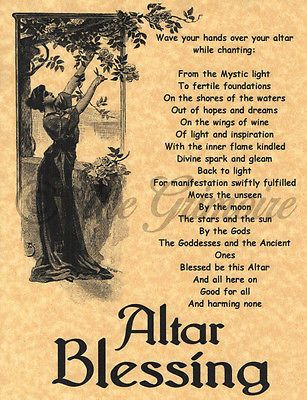 Altar Blessing, Book of Shadows Page, BOS Pages, Witchcraft Spell, Wiccan Poster