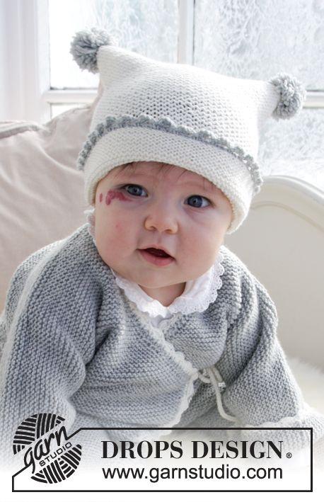 6b1305be28df Time for Fun   DROPS Baby 31-15 - Ensemble bébé au tricot  Combinaison  tricotée pour bébé, au point mousse avec bordures au crochet, bonnet  tricoté au point ...