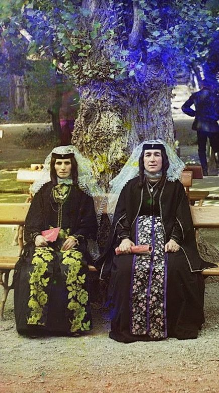 Armenian women in holiday attire. From the Artvin region, early 20th century.  (Prokudin-Gorskii Collection).
