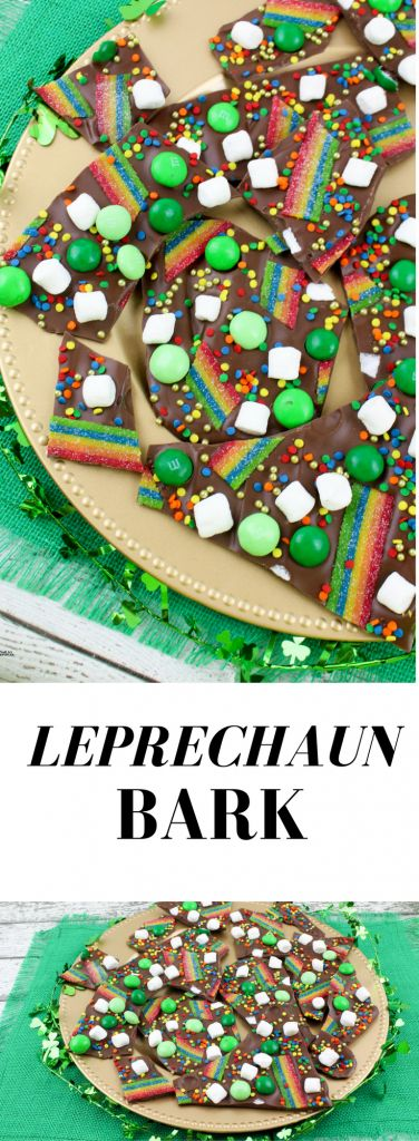 Leprechaun Bark Recipe for St Patrick's Day that's super easy to make with just a few colorful ingredients!