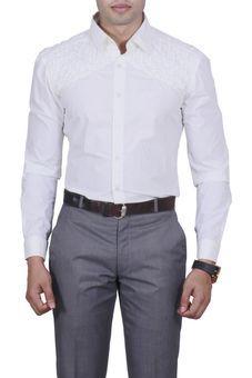 White Plain Shirt by Manu Couture, Mens Shirts