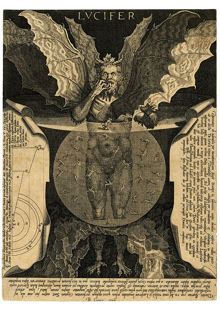 "LUCIFER - The Devil at centre, with three faces and three pairs of wings, standing in a pool and devouring a damned soul, against dark background. Titled in top centre: ""LVCIFER."" Lettered extensively around image with excerpts of Dante's Divina Comedia. Engraving made by Cornelis Galle I, After Lodovico Cigoli, Belgium, 1591-1650."