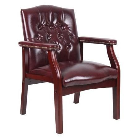 Furniture Chair Boss Traditional Oxblood Vinyl Guest Comfort Finish Mahogany - Chairs