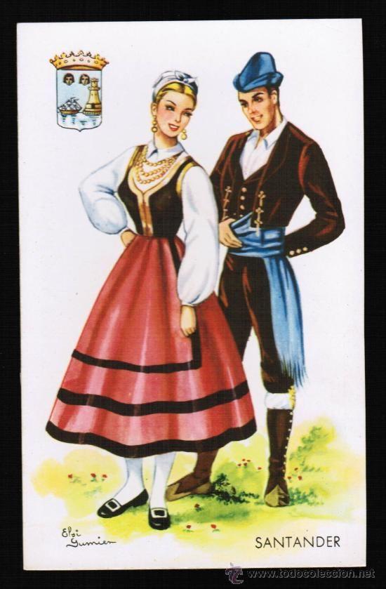 POSTAL TRAJES REGIONALES - SANTANDER - ILUSTRADOR: ELSI GUMIER (Postales - España - Cantabria Moderna (desde 1.940))