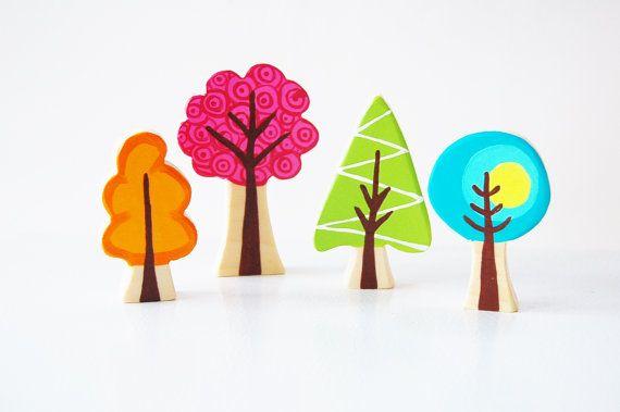 Bosque encantado bosque árbol Set de 4  vivero forestal tema