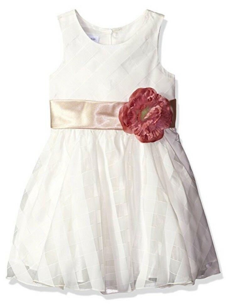 Bonnie Baby White Rosette Dress Sleeveless Summer Wedding Flower Girl Party