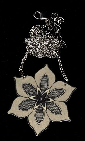 Shrinky dink jewelry... look at how intricate this design is!